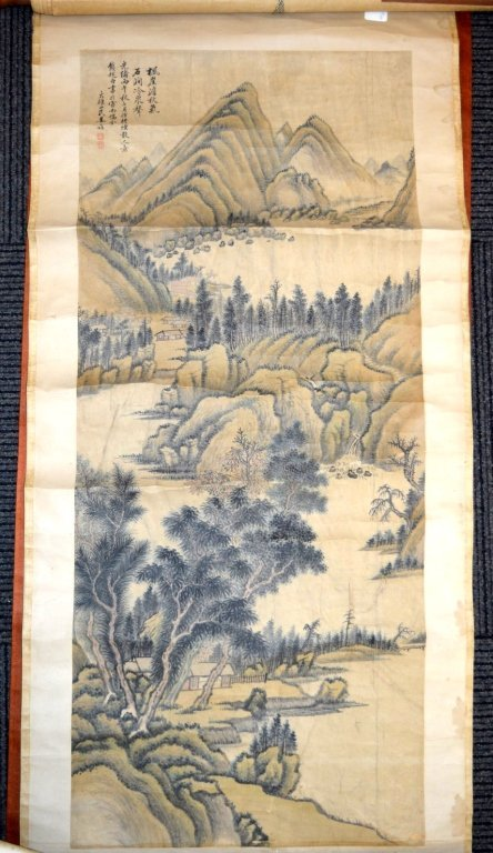 Antique Chinese Ink & Color Landscape Painting