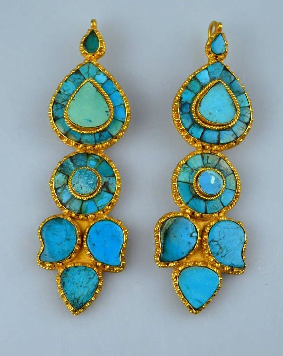 Antique Tibetan Gold & Turquoise Large Earrings
