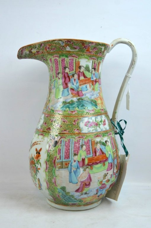 """Large 19th C Chinese """"Rose Medallion"""" Pitcher"""