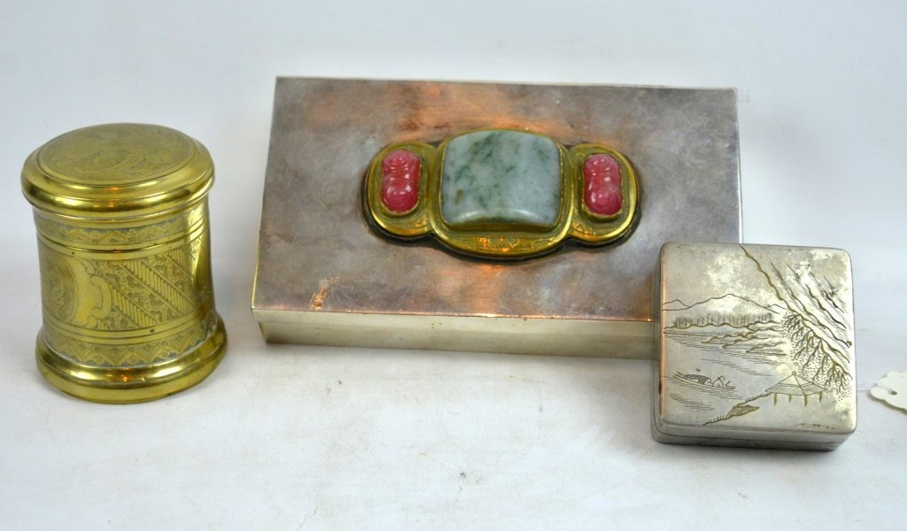 3 - Antique Chinese or Asian Metal Boxes