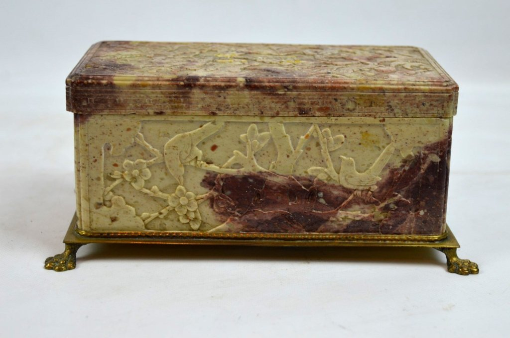 Qing Dynasty Chinese Carved Soapstone Box
