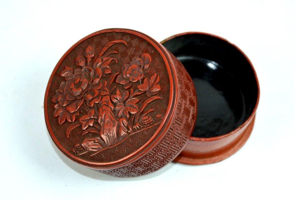 18th/19th C Chinese Carved Cinnabar Round Box