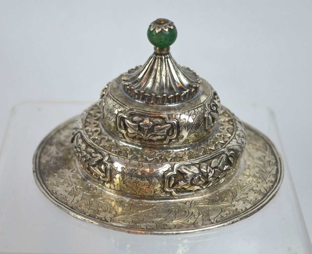 19th C Tibetan Engraved & Repousse Silver Cover