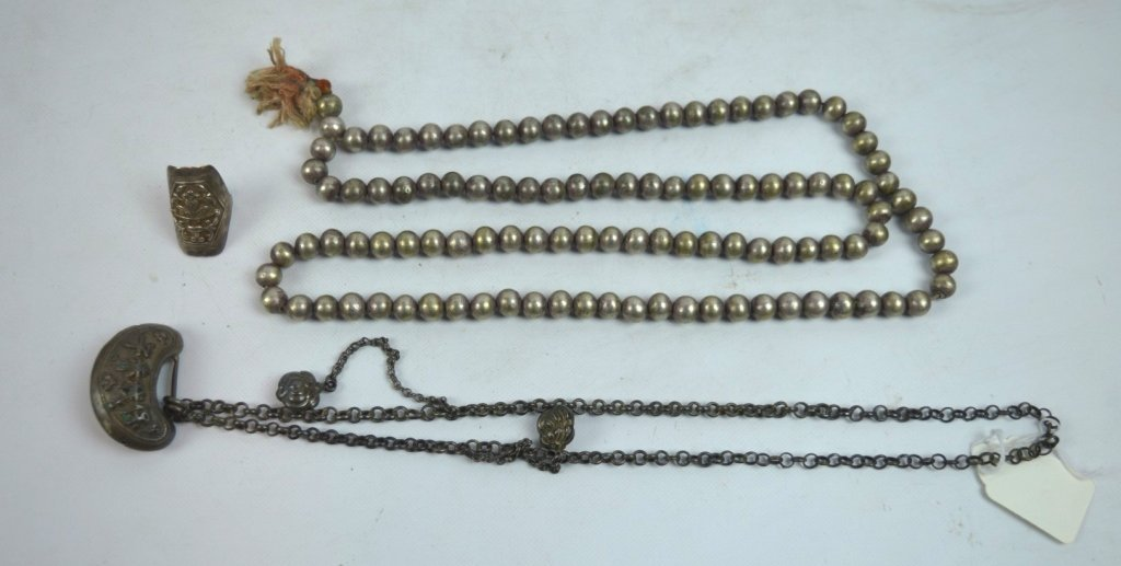 3 - Pieces Antique Chinese Silver Jewelry