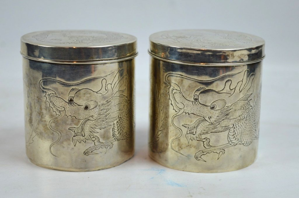 Pr Old Chinese Engraved Silver Tea Cans & Covers