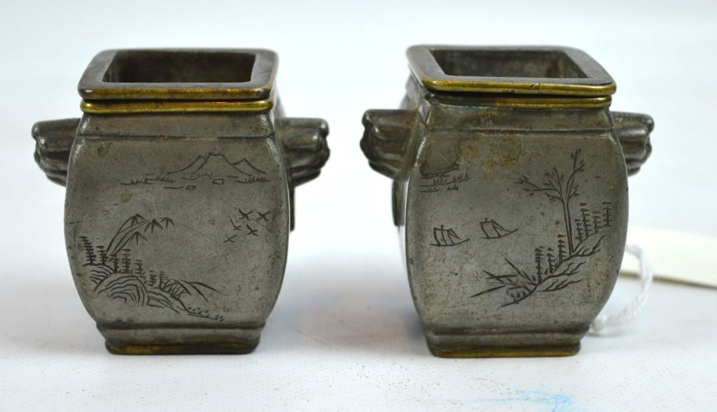 Pr. Chinese Incised Bronze Containers w Liners