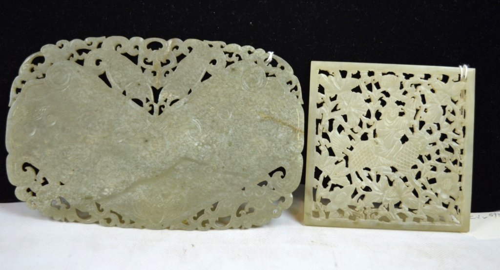 2 - Antique Carved Large Plaques; Jade & Hardstone