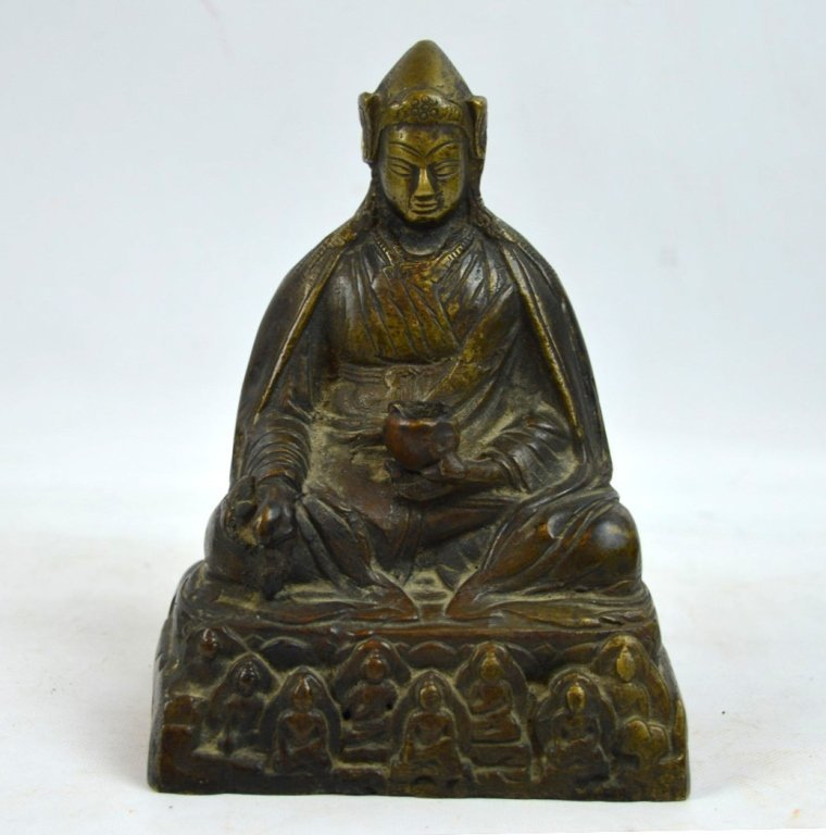 Antique Tibetan Cast & Chased Bronze Seated Lama