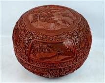 Fine 18/19 C Chinese Cinnabar Lacquer Round Box