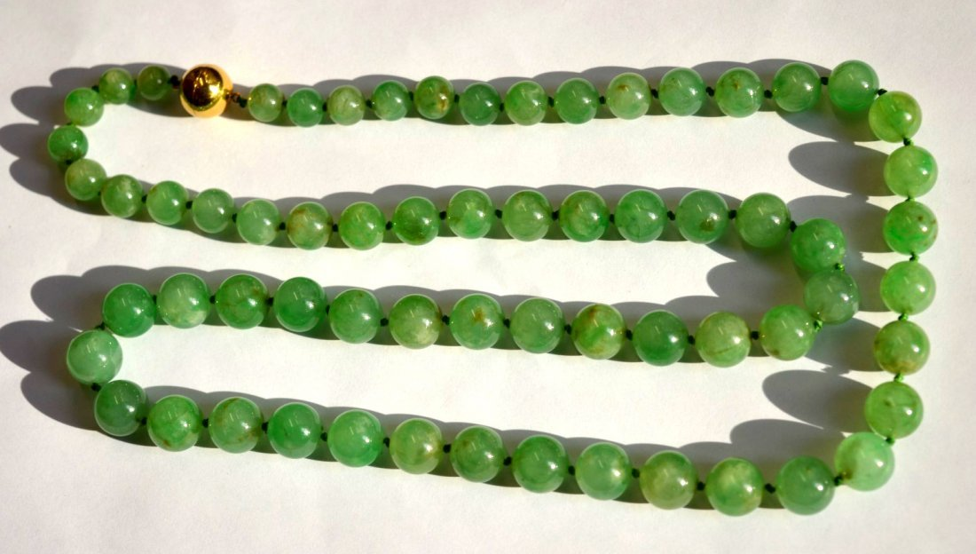 GIA Certified Natural Qing Chinese Jadeite Beads