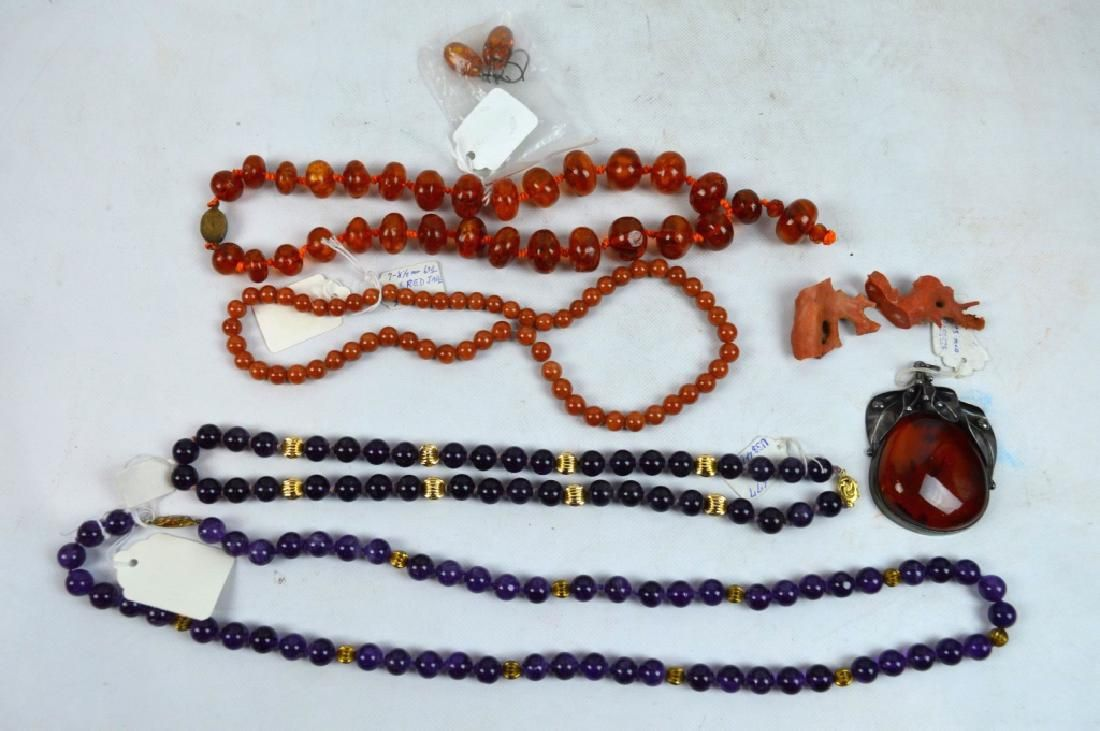 Group Chinese Amber, Coral, Red Jadeite, Amethyst