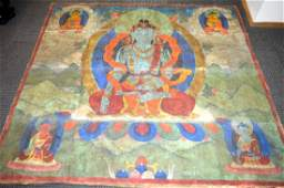 Large Antique Tibetan Thanka of Seated Green Tara