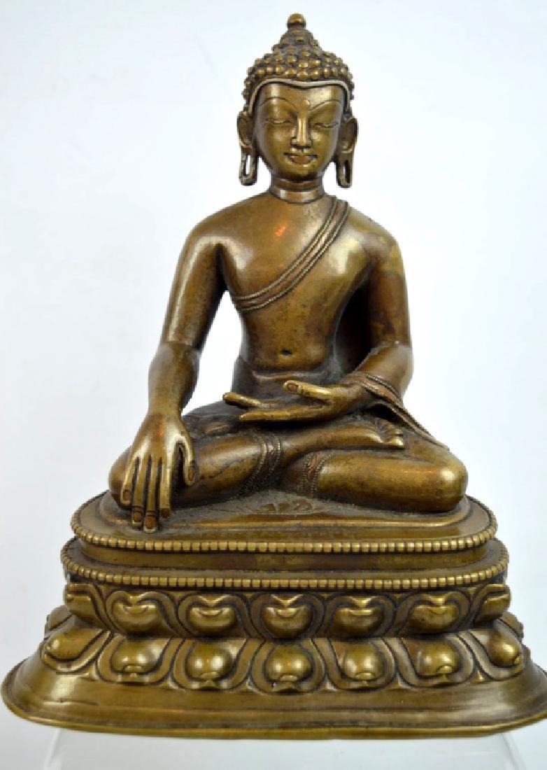 13th C Tibetan Inlaid Bronze Seated Buddha