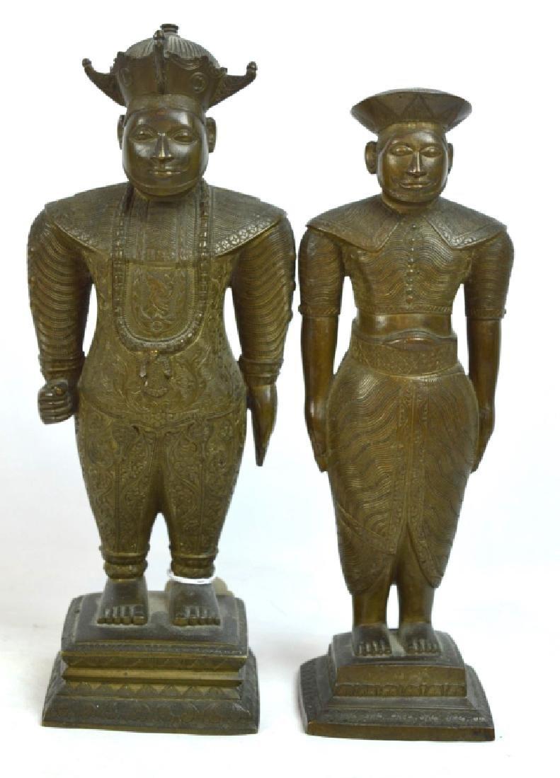 Pair Antique South East Asian Solid Bronze Figures