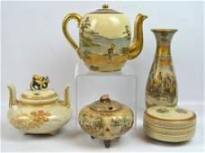 5  Piece Antique Satsuma Collection