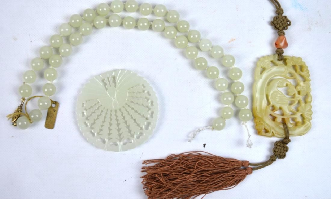 Chinese Carved Jade or Hardstone; Plaques & Beads