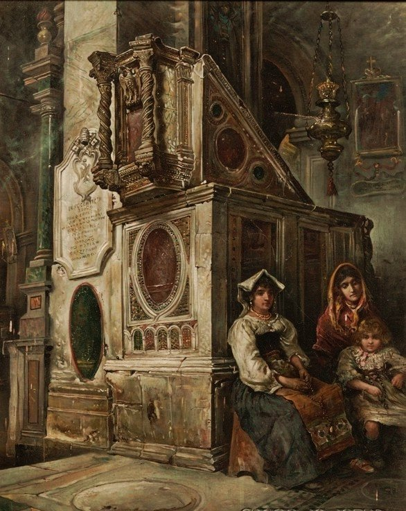 """Antique painting o/c Camillo G. Barbera """"In church"""""""