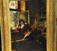 Antique painting o/c Max Volkhart, 19th cent.