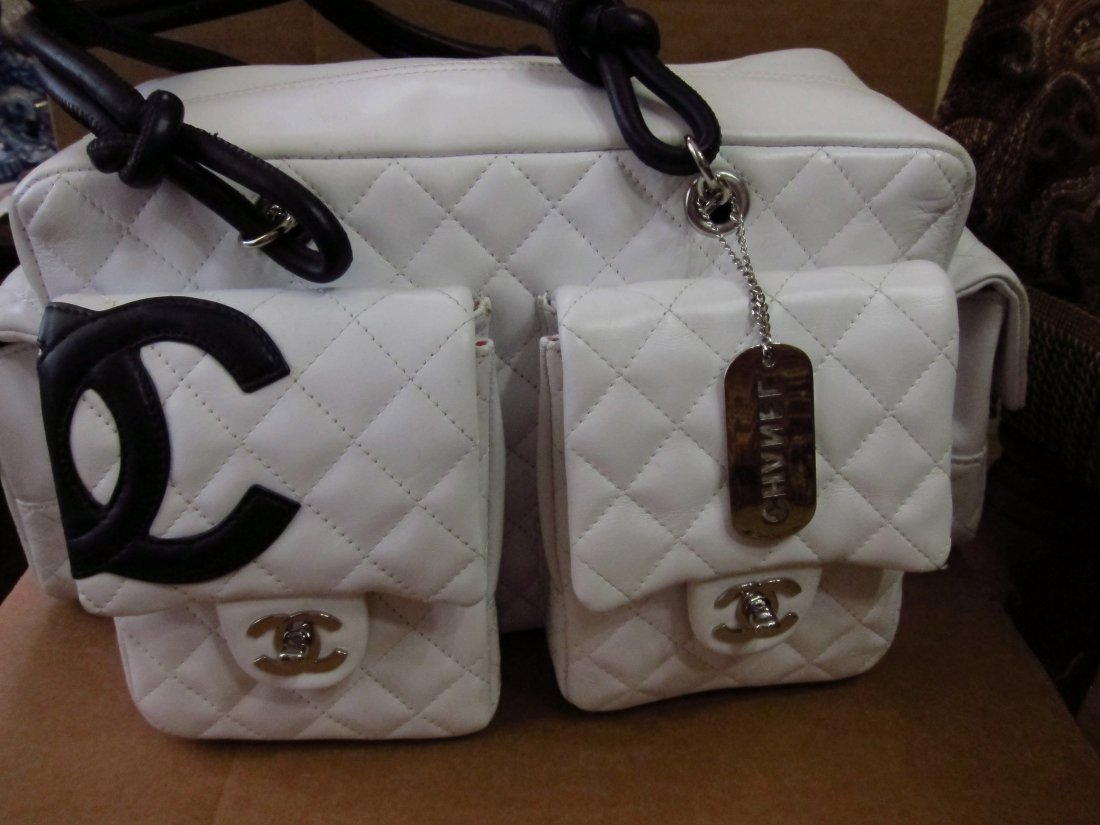 Chanel Lamb Leather Cambon Reporter Bag blk/wht