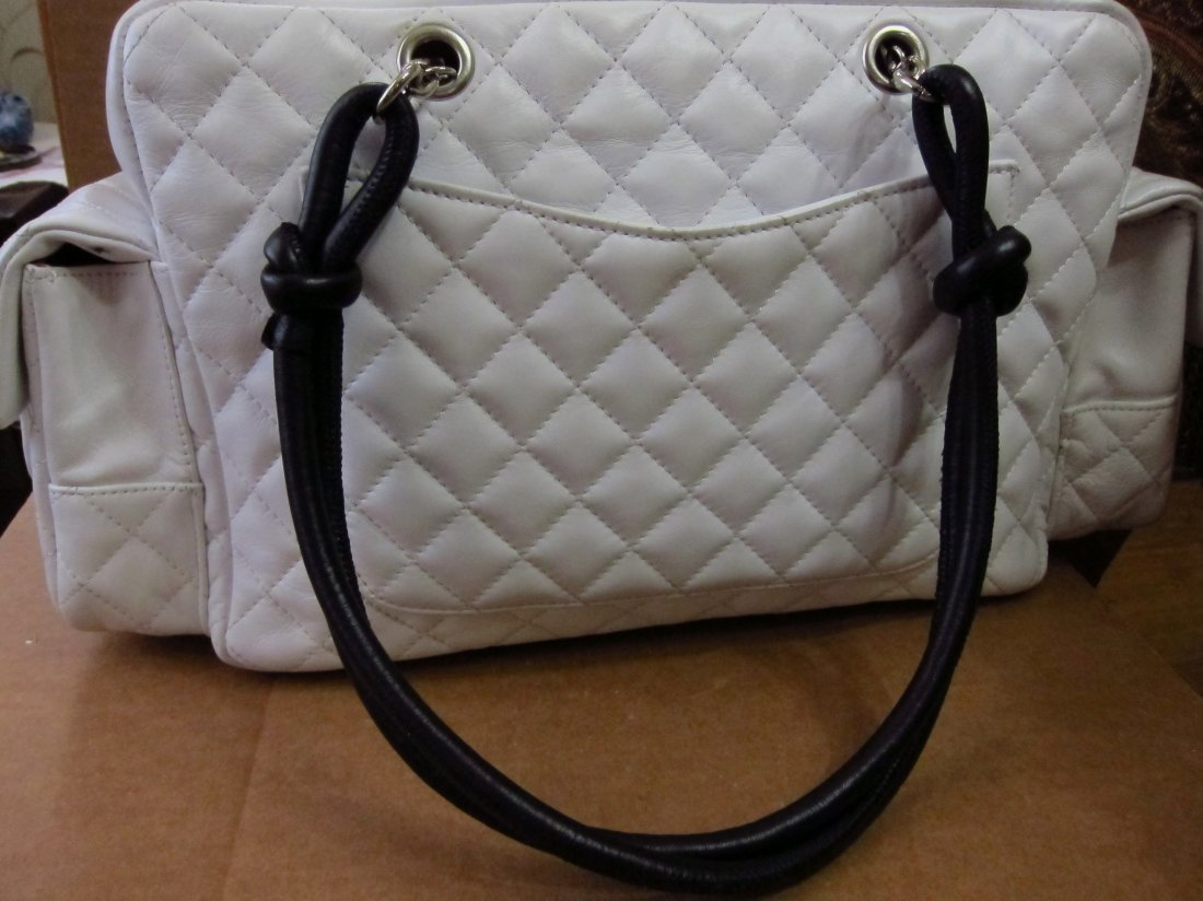 Chanel Lamb Leather Cambon Reporter Bag blk/wht - 5