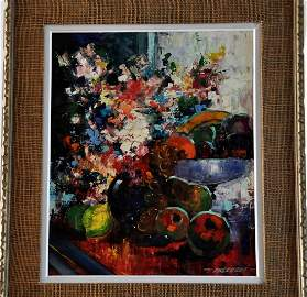 """Painting by R. Falcucci """"Bouquet"""", signed,framed,listed"""
