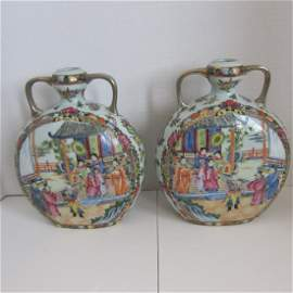 Pair Chinese antique porcelain moon flasks Famille Rose