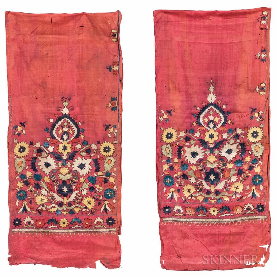 Pair of Ottoman Silk-on-silk Panels