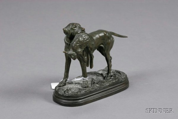2: Bronze Figure of a Dog with Game, France, late 19th/