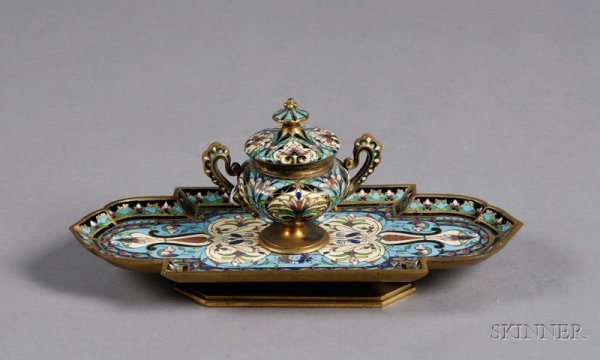 2A: Champleve Bronze Inkstand, France, 19th century, el
