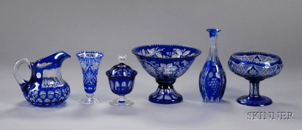 3: Six Pieces of Cobalt Cut to Clear Glass Items, Europ
