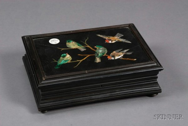 11: Pietra Dura Mounted Box and Cover, Italy, late 19th