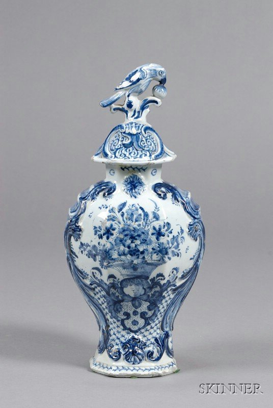 12: Dutch Delft Blue and White Vase and Cover, Holland,