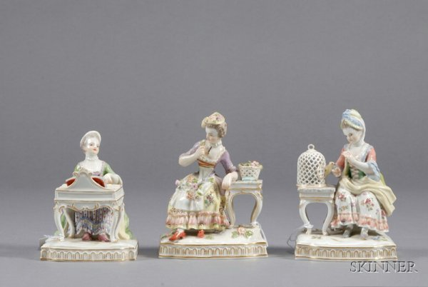 15: Three Meissen Porcelain Figures, Germany, late 19th