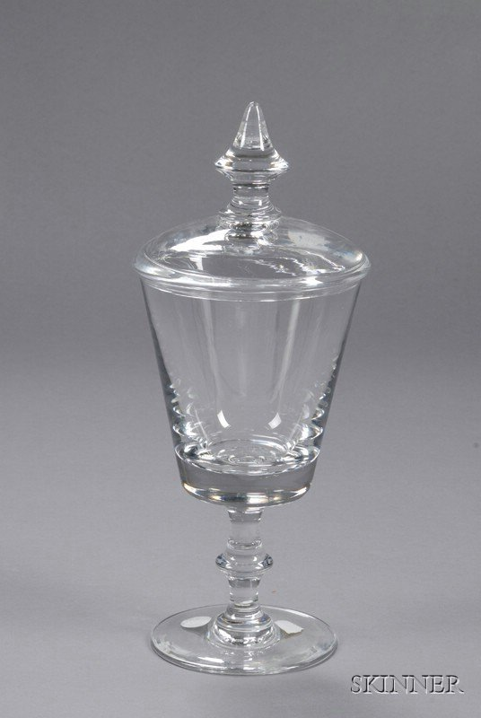 16: Val St. Lambert Pokal-style Glass Vase and Cover, B
