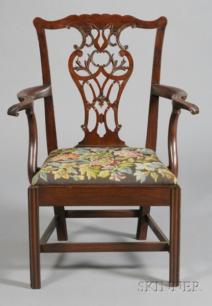 20: George III Style Carved Mahogany and Needlepoint Up