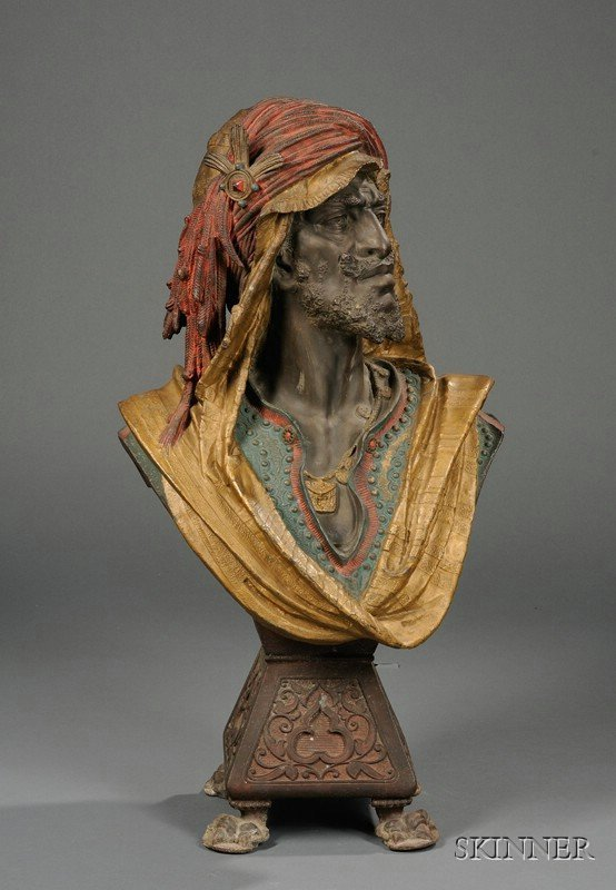 387: Painted Spelter Bust of a Moor, late 19th century,