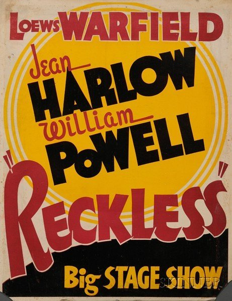 "1: Jean Harlow/Reckless, 1935, ""Loews Warfield, Harlow/"