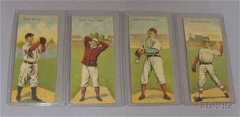 6B: Four 1911 T201 Mecca Cigarettes Double Folder Baseb