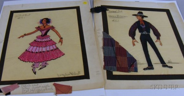 19: Fifteen Unframed 1950s-60s Broadway Costume Designs
