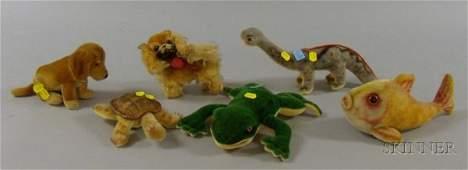73: Six Steiff Plush Animal Toys, a frog, dinosaur, Baz