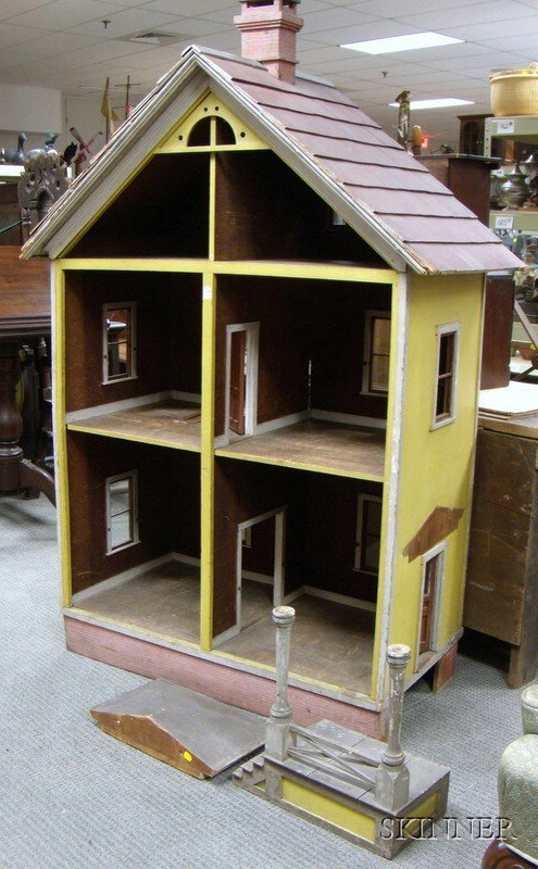 501: Late Victorian Painted Wood Three-Story Dollhouse,
