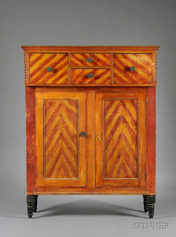 506: Grain Painted Pine Cupboard, with four drawers ove