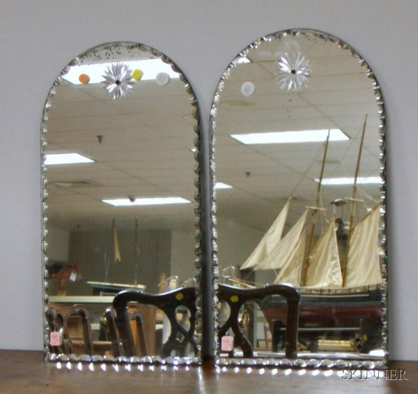 507: Pair of Venetian-style Arched-top Cut-edge Glass M