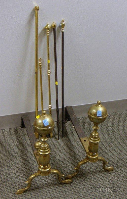 508: Pair of New York Brass Belted Ball-top Andirons an