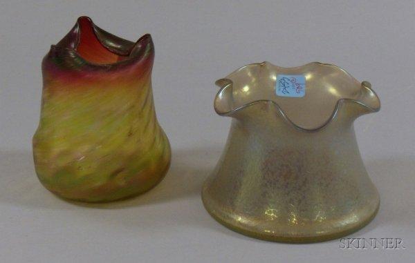 509: Two Loetz-type Iridescent Art Glass Vases, with po