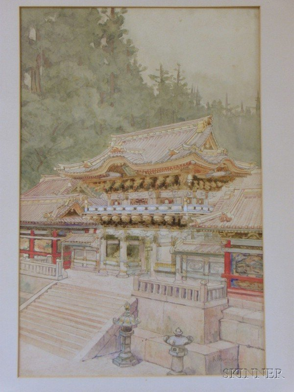 511: Watercolor on Paper Mounted on Board View of a Jap