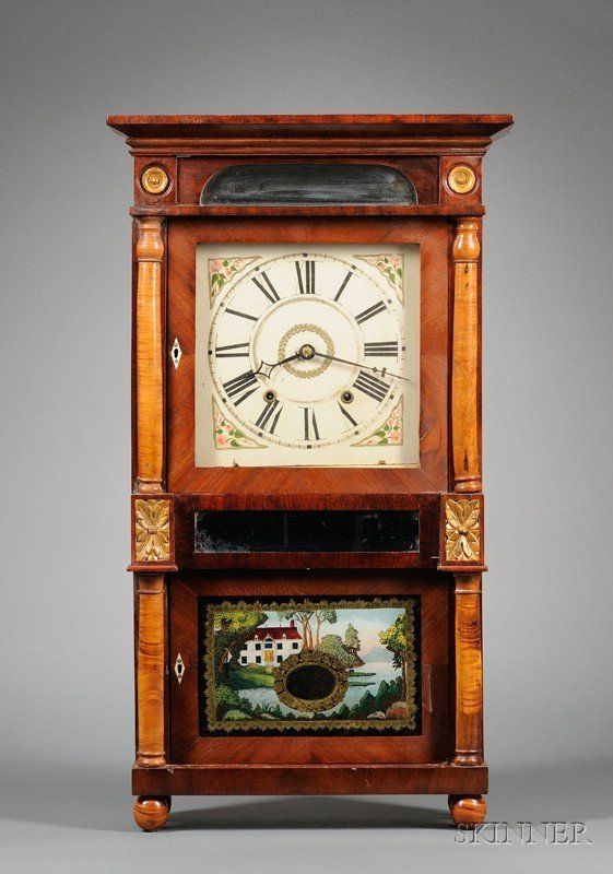 516: Mahogany Triple-decker Shelf Clock by T.M. Roberts