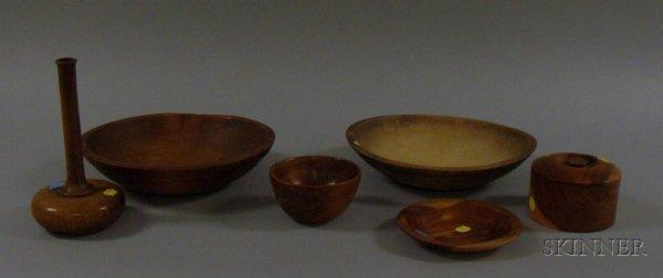 517B: Six Treenware Items, a dish, three bowls, a bottl