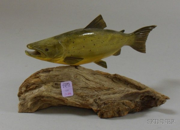517D: Carved and Painted Wooden Salmon Figure Mounted o