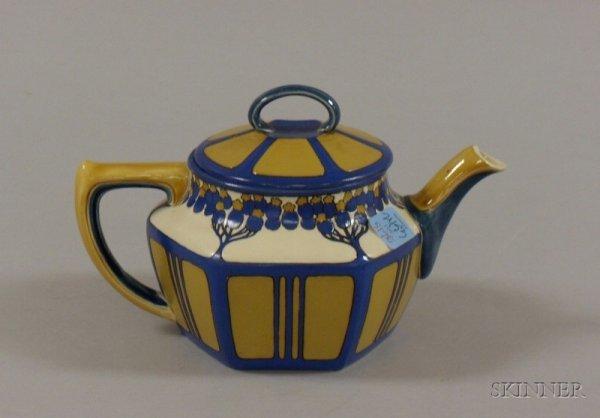 517E: Mettlach Arts & Crafts Pattern Stoneware Teapot,